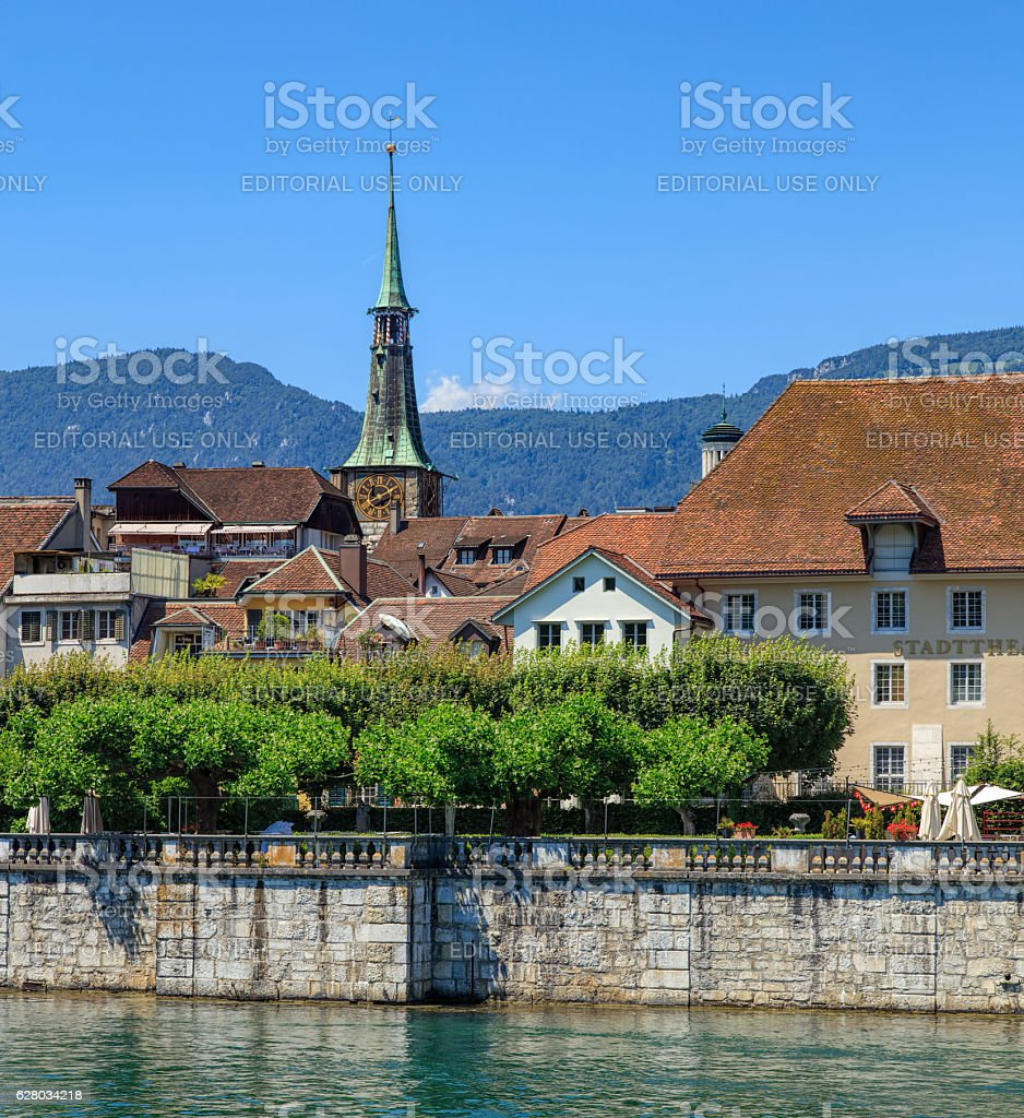 Buildings along the Aare river in Solothurn, Switzerland stock photo