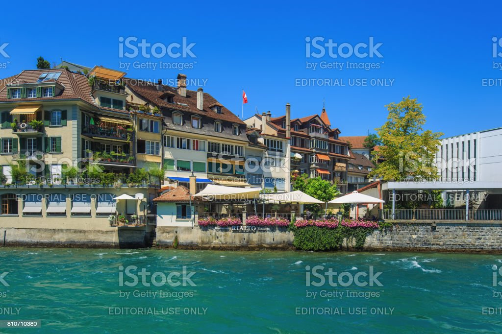 Buildings along the Aare river in the city of Thun, Switzerland stock photo