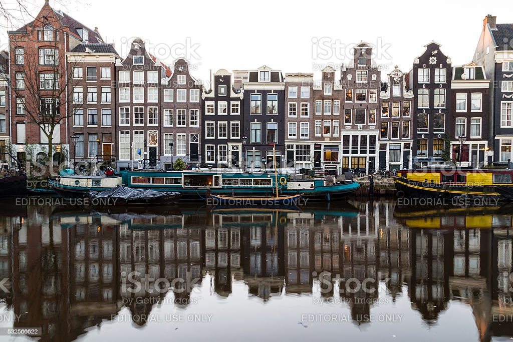 Buildings along the Amsterdam Canals in Black and White stock photo