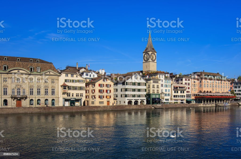 Buildings along the Limmat river in the city of Zurich, Switzerland stock photo
