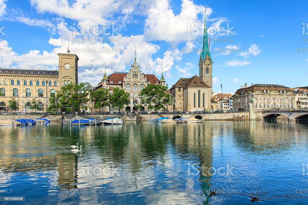 Buildings along the Limmat river in the historic part of Zurich stock photo