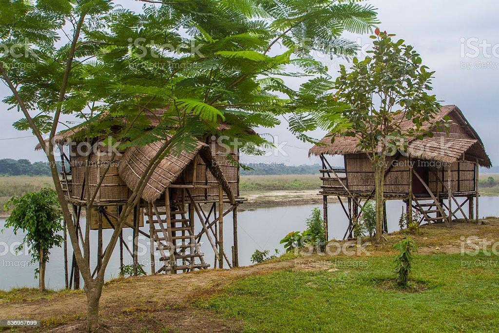 Buildings Along the Rapti River, Nepal royalty-free stock photo