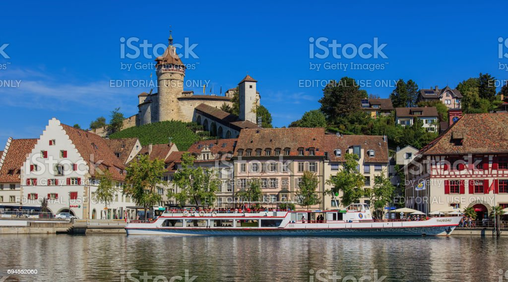 Buildings along the Rhine river in Schaffhausen, Switzerland stock photo