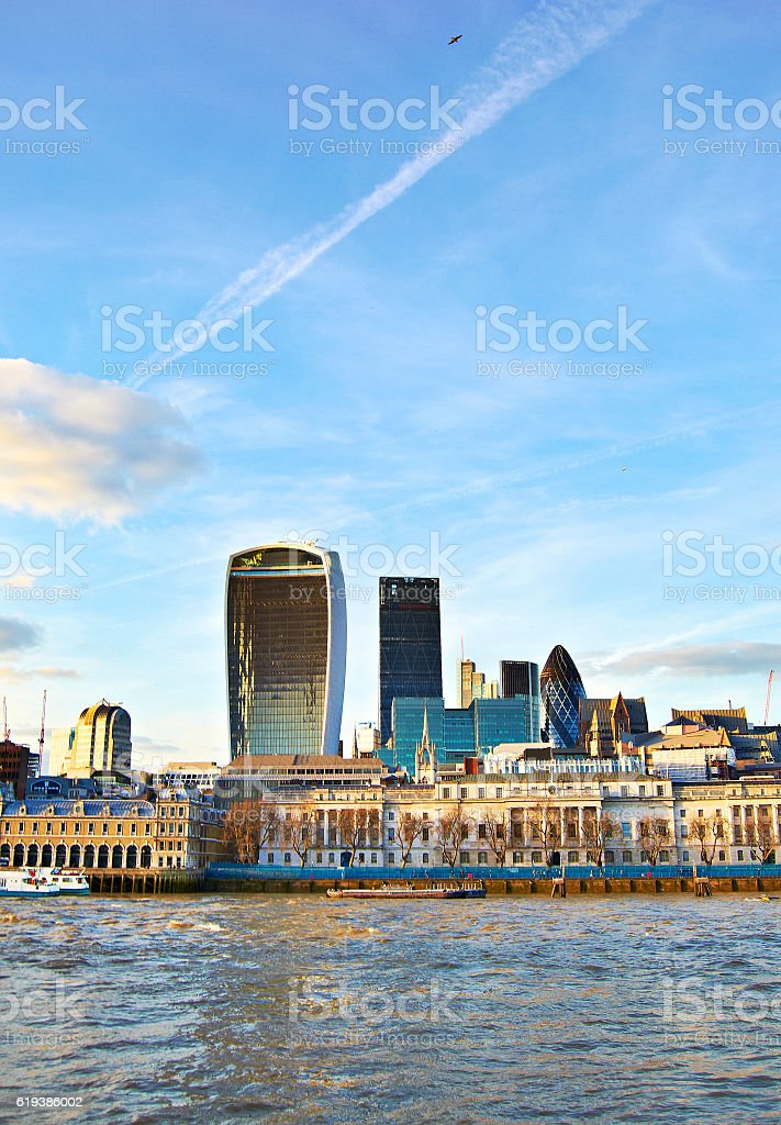 Buildings along the river Thames in London, UK stock photo