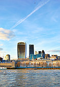 Buildings along the river Thames in London, UK