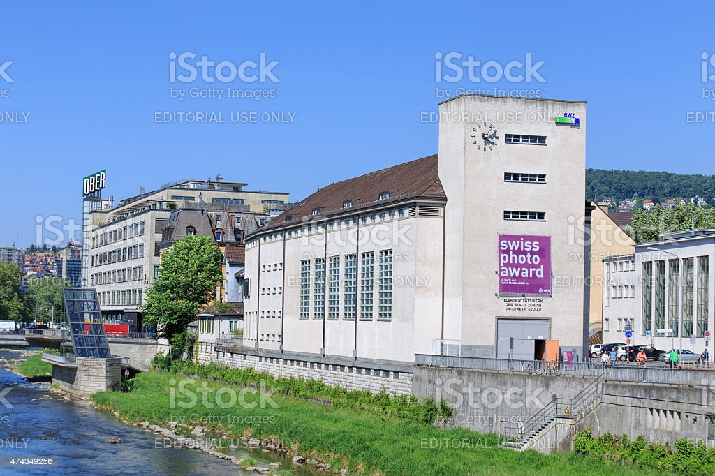 Buildings along the Sihl river in Zurich stock photo