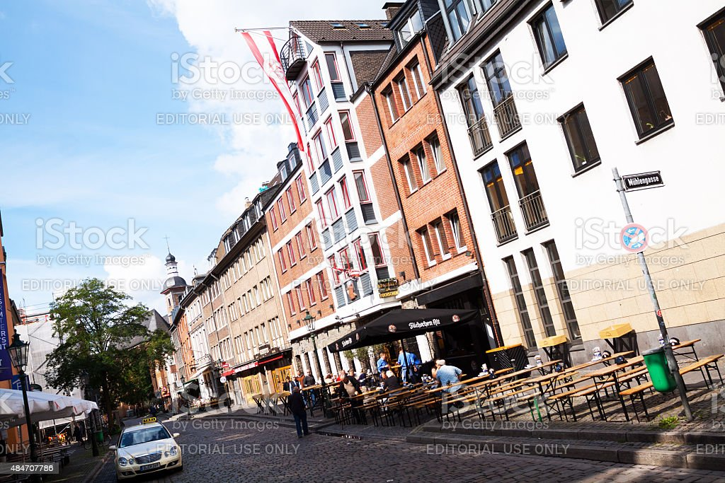Buildings and bars in street Ratinger Stra?e stock photo