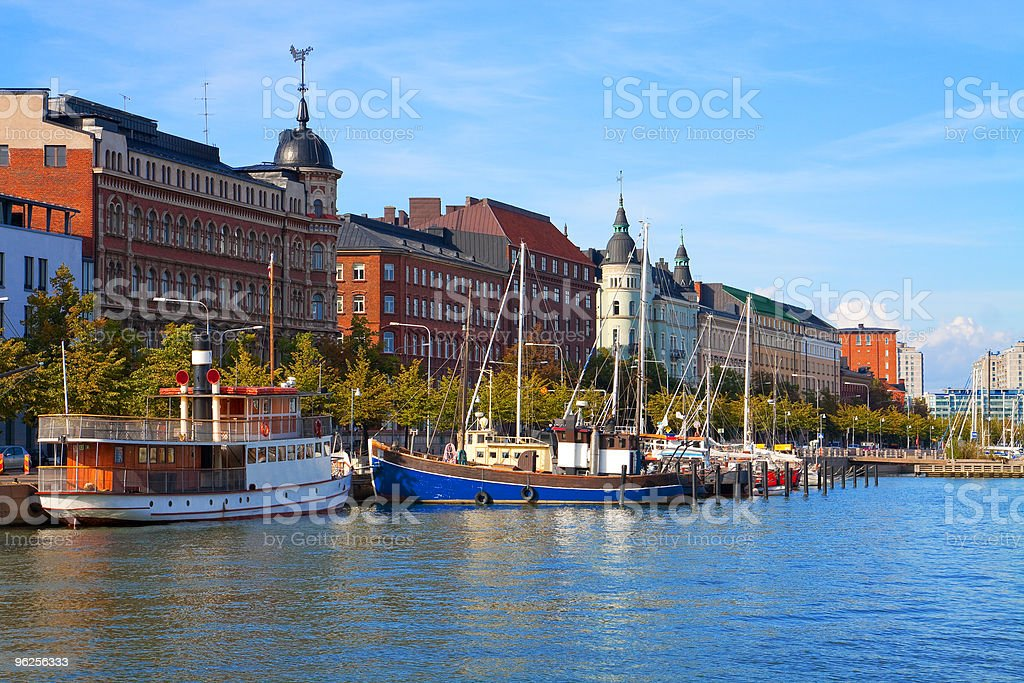 Buildings and boats at Helsinki, Finland's Old Town pier royalty-free stock photo