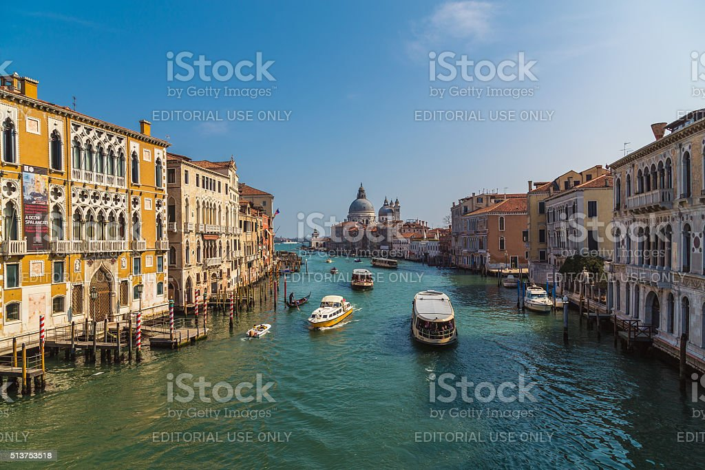 Buildings and Boats in Venice stock photo