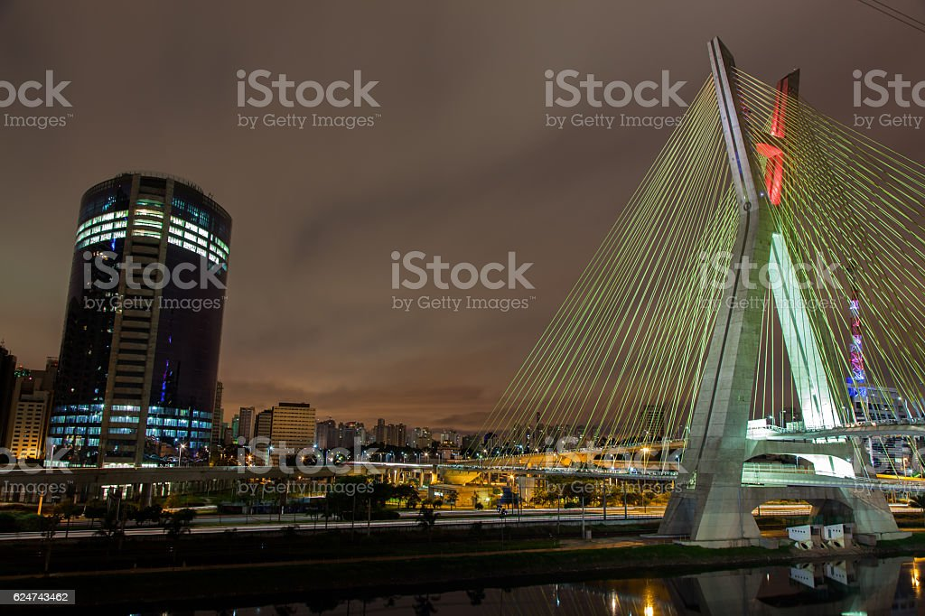 Buildings and cable stayed bridge Sao Paulo Brazil at night stock photo