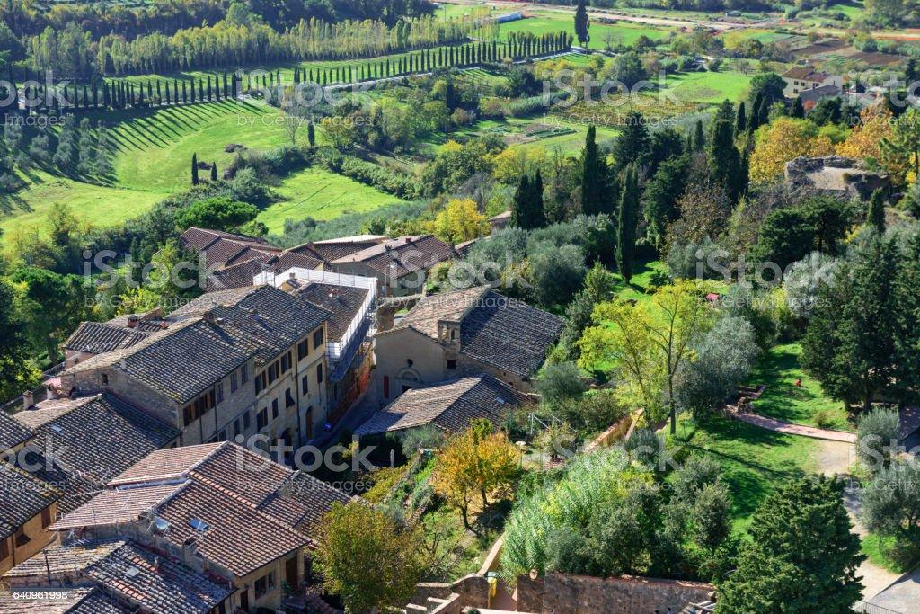 Buildings and countryside, San Gimignano, Italy stock photo