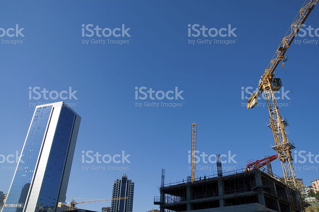 buildings and crane royalty-free stock photo