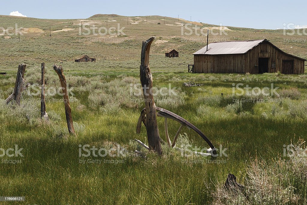 Buildings and Fence at Bodie royalty-free stock photo
