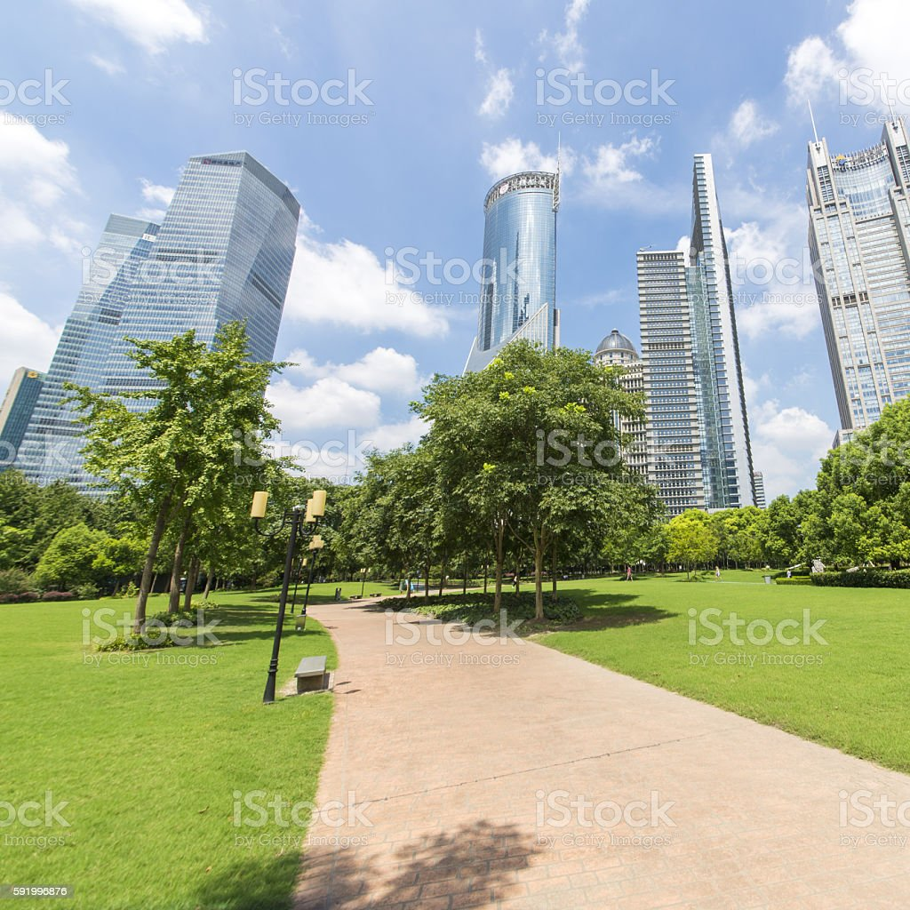 Buildings and grassland stock photo