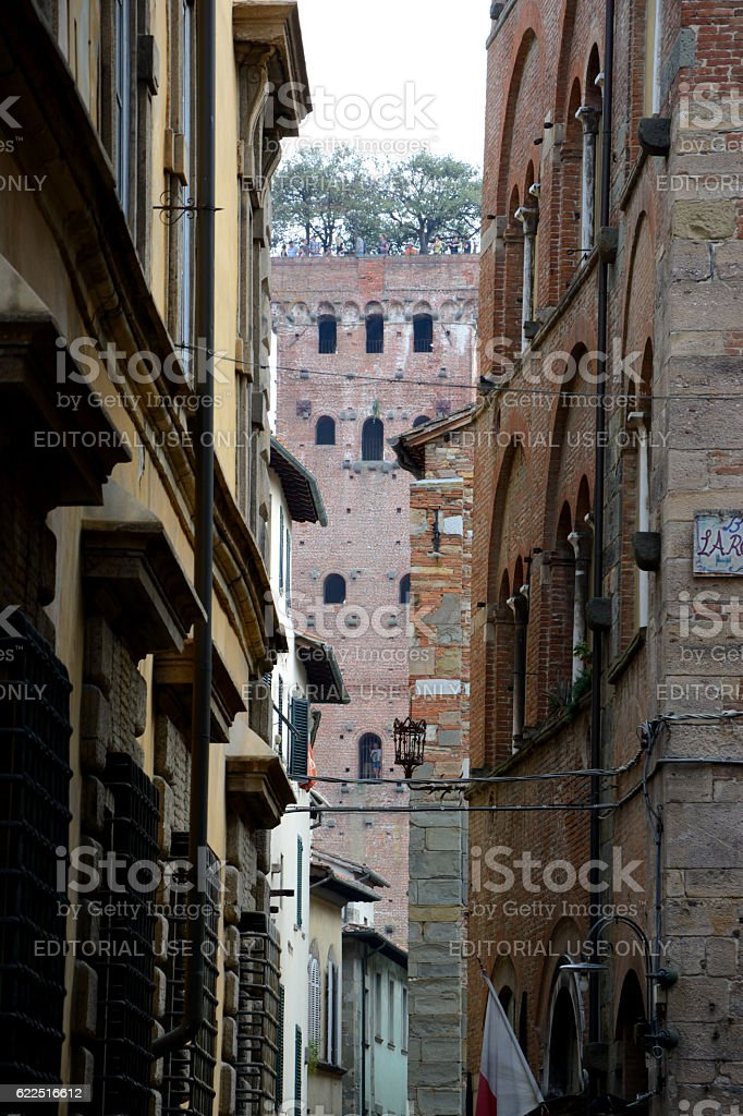 Buildings and  Guinigi tower in Lucca city in Italy. stock photo