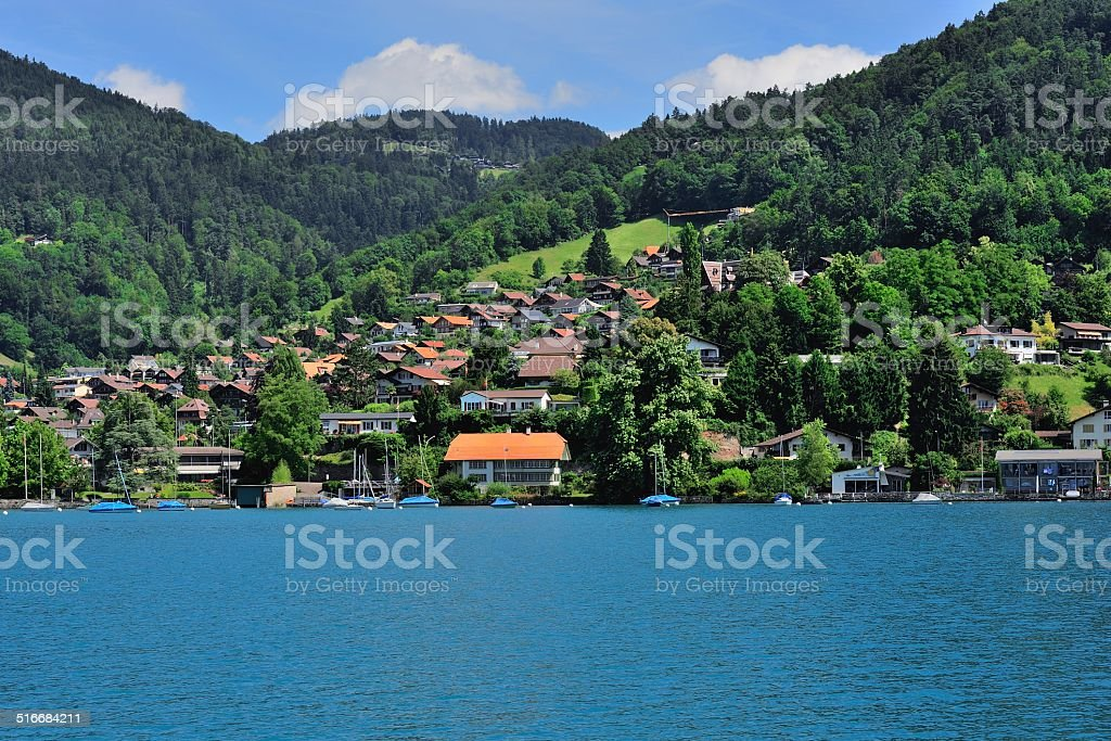 Buildings and houses at Thunersee Lakeside 001 stock photo