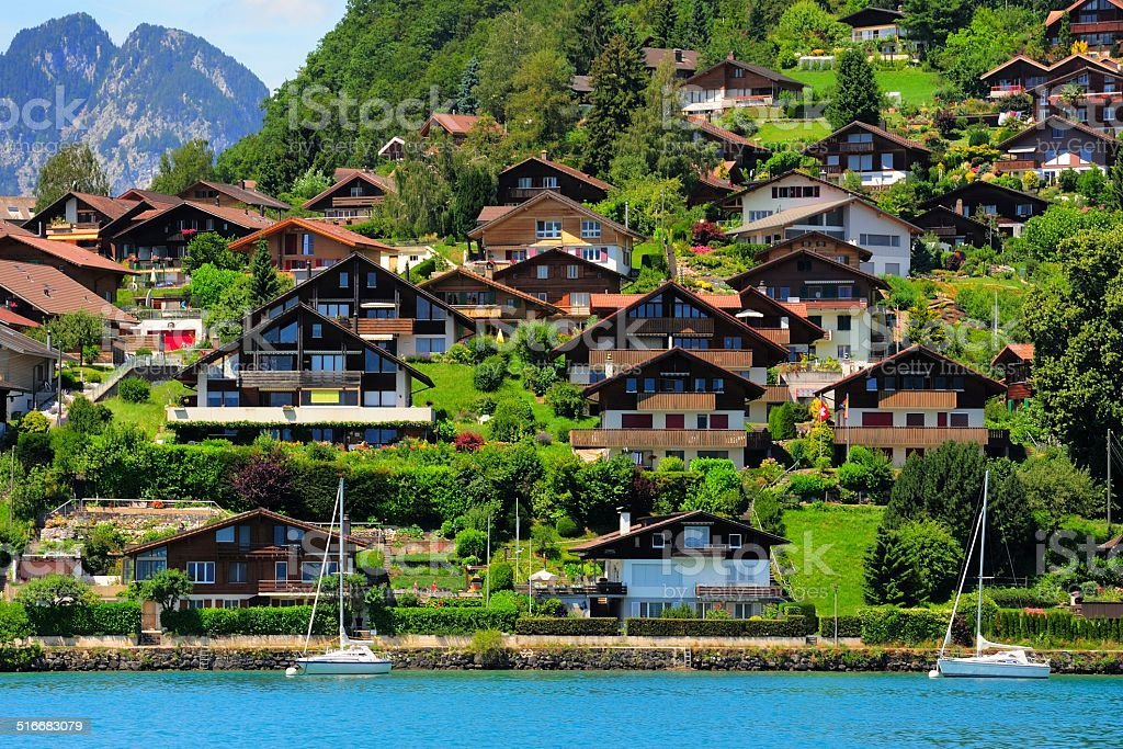 Buildings and houses at Thunersee Lakeside 002 stock photo