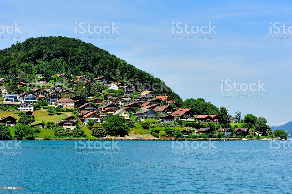 Buildings and houses at Thunersee Lakeside 004 stock photo