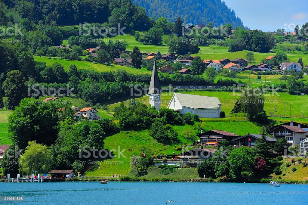 Buildings and houses at Thunersee Lakeside 005 stock photo