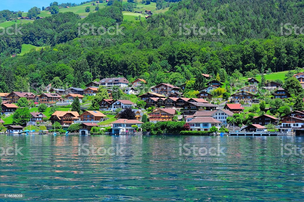 Buildings and houses at Thunersee Lakeside 006 stock photo