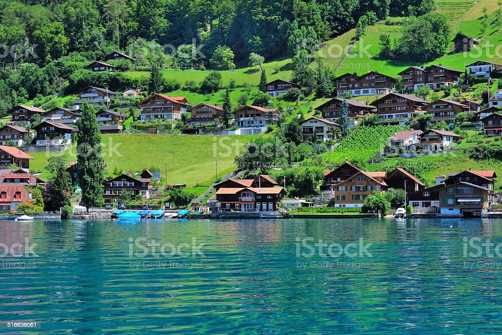 Buildings and houses at Thunersee Lakeside 007 stock photo