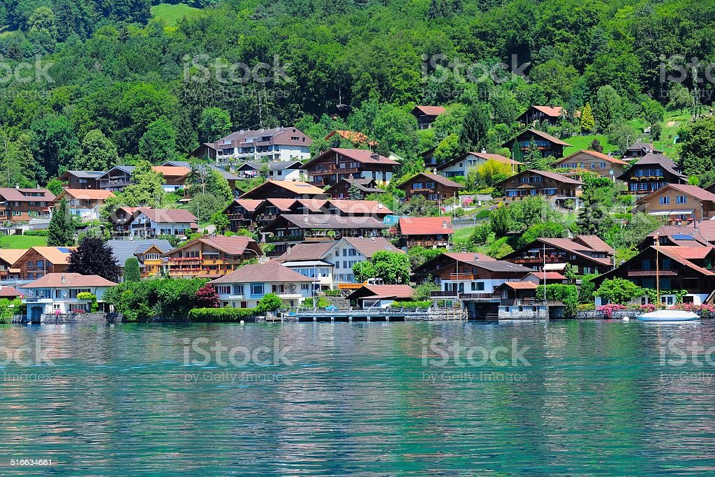 Buildings and houses at Thunersee Lakeside 008 stock photo