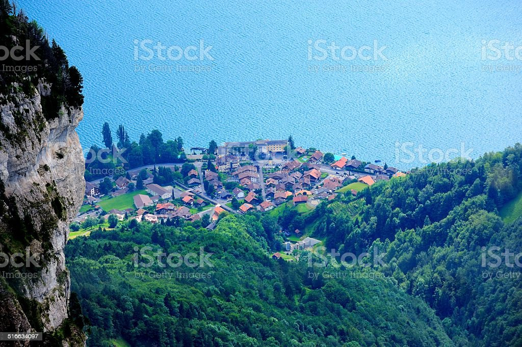 Buildings and houses at Thunersee Lakeside 009 stock photo