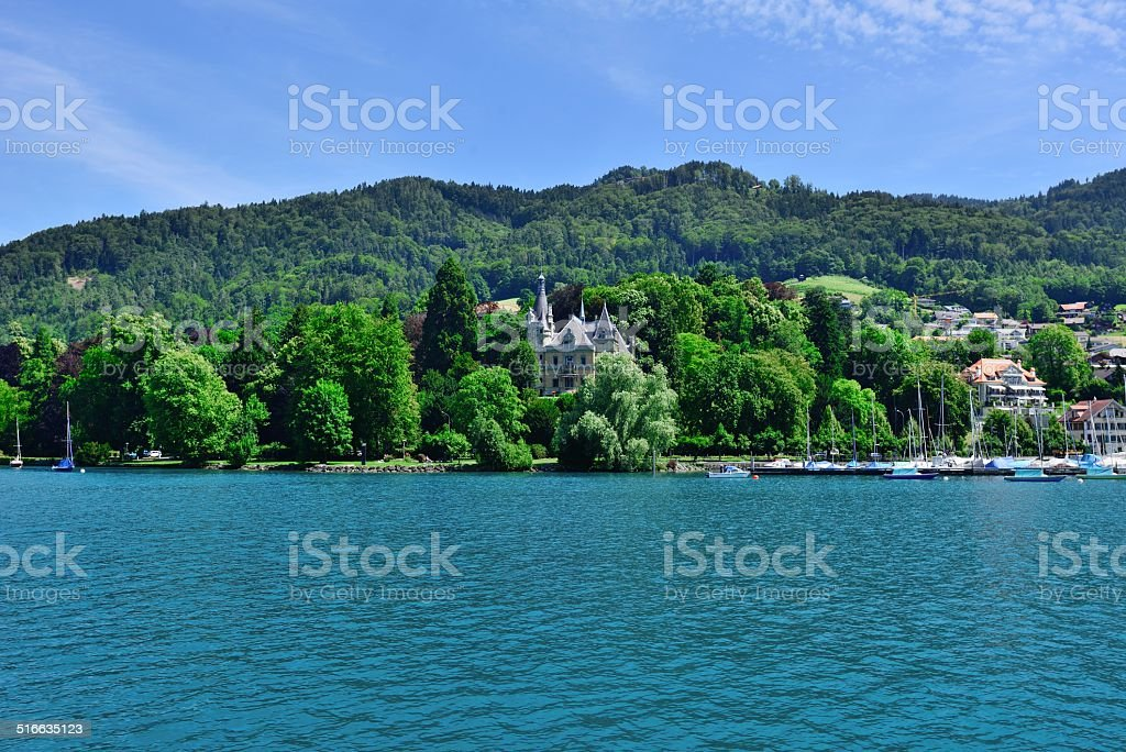 Buildings and houses at Thunersee Lakeside 010 stock photo
