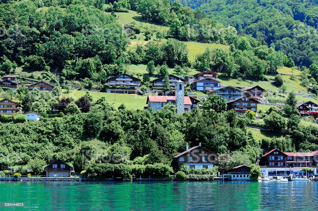Buildings and houses at Thunersee Lakeside 04 stock photo