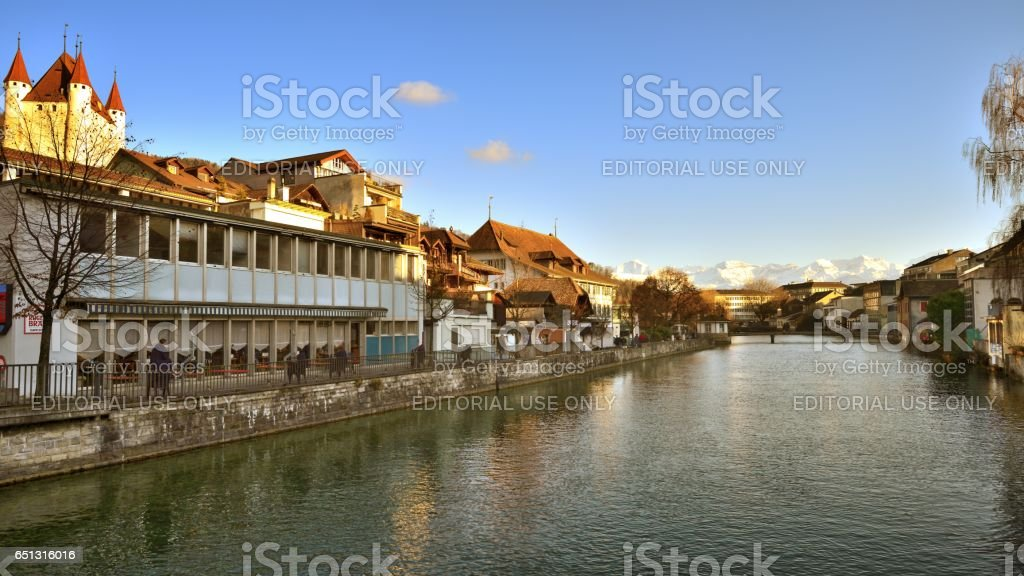 Buildings and houses at Thunersee Lakeside stock photo