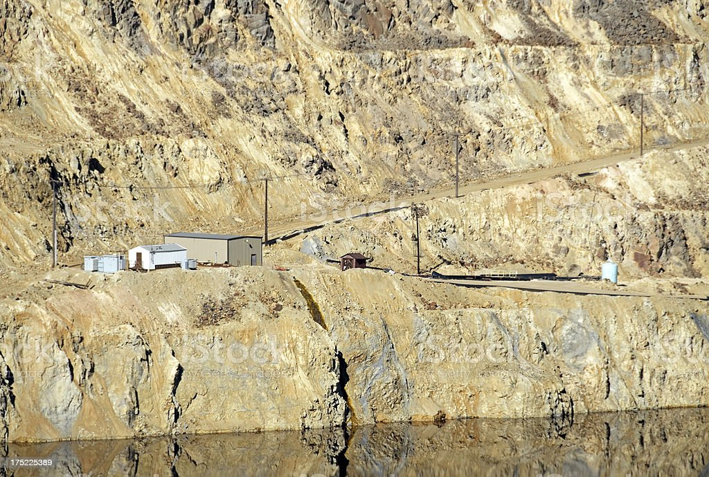 Buildings and old copper mine in Butte MT royalty-free stock photo