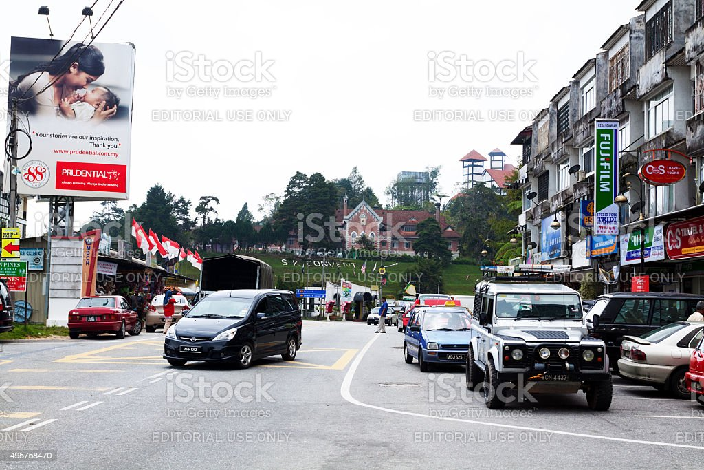 Buildings and parking lot in Tanah Rata stock photo