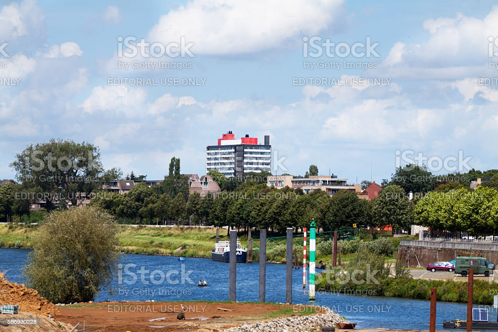 Buildings and river mass in Venlo stock photo