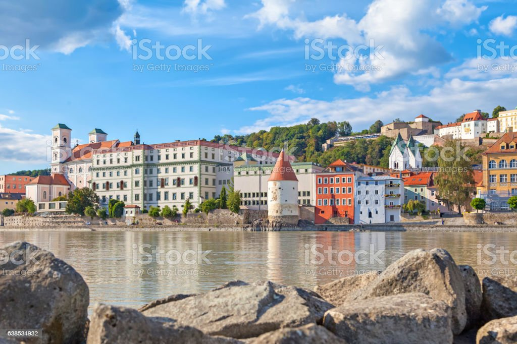 Buildings and Schaibling Tower on side of Inn river, Passau stock photo