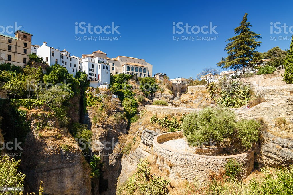 Buildings and viewpoint in Ronda, Malaga province, Spain. stock photo