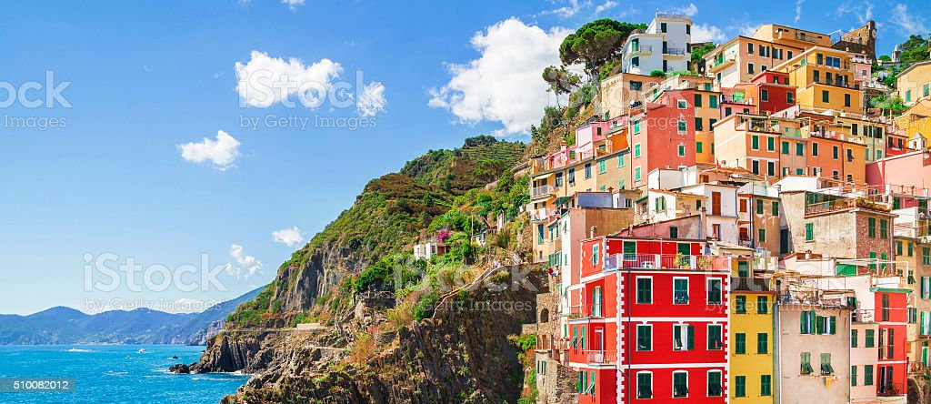Buildings architecture in Cinque Terre  - Five lands ,Italy stock photo