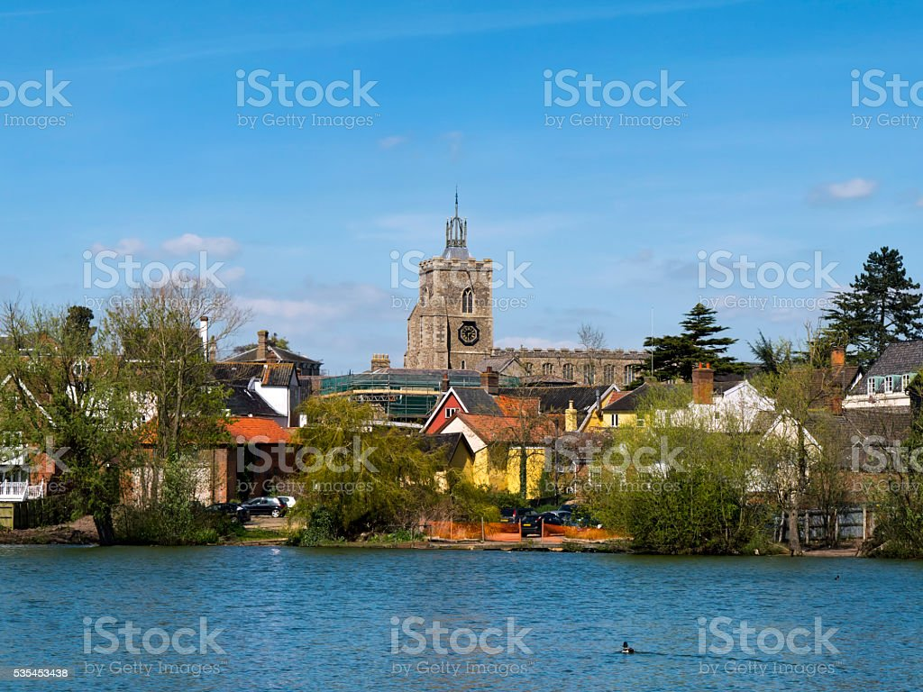 Buildings around Diss Mere stock photo