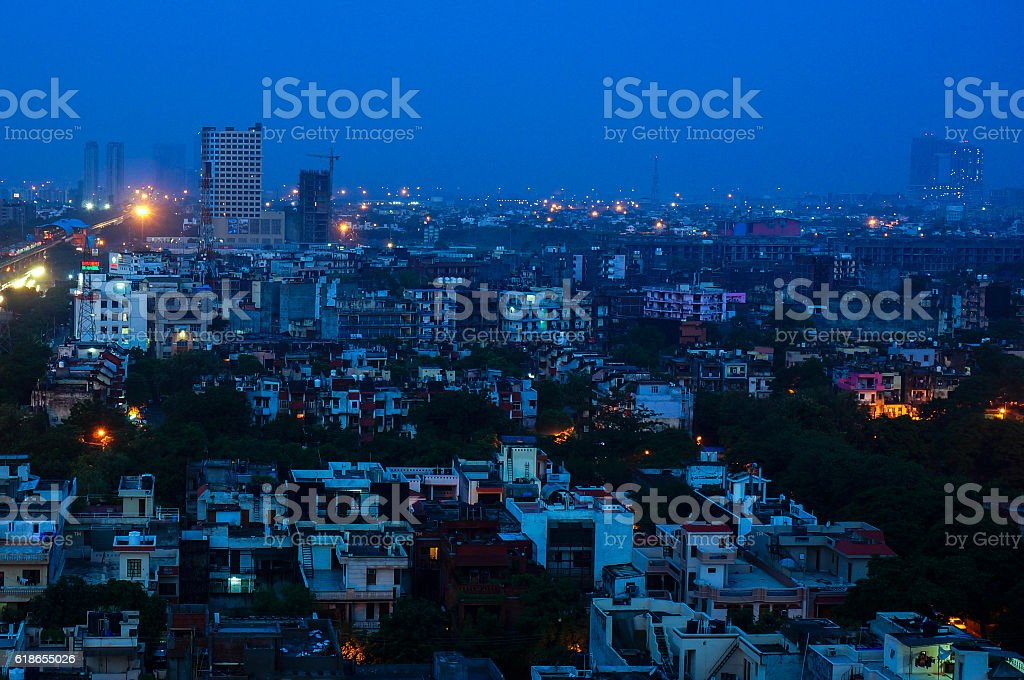 Buildings at dusk in Noida India stock photo