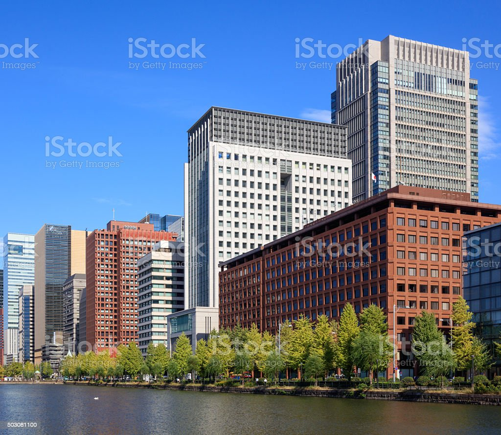 Buildings at Marunouchi area in Tokyo, Japan stock photo