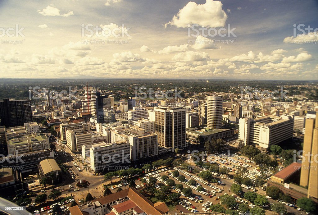 Buildings at Nairobi capital of Kenya stock photo