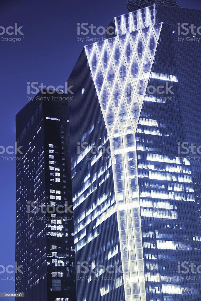Buildings at Night stock photo