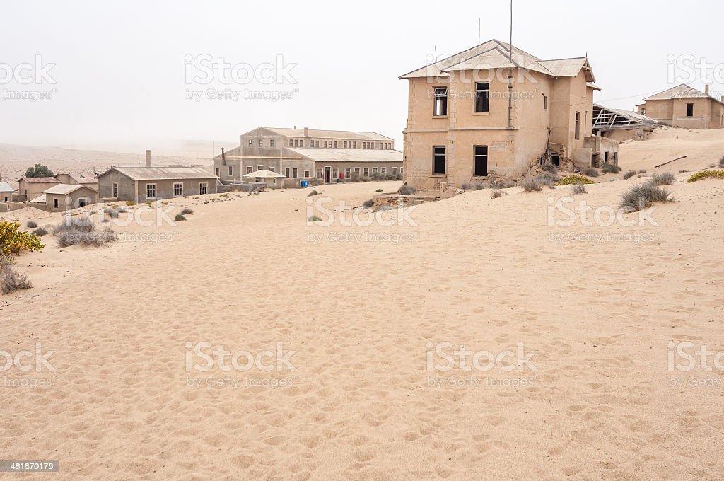 Buildings at the ghost town of Kolmanskop stock photo