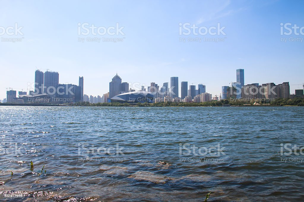 Buildings by the river stock photo