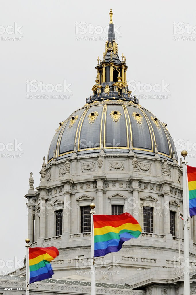Buildings: Capital in SF with rainbow flags stock photo
