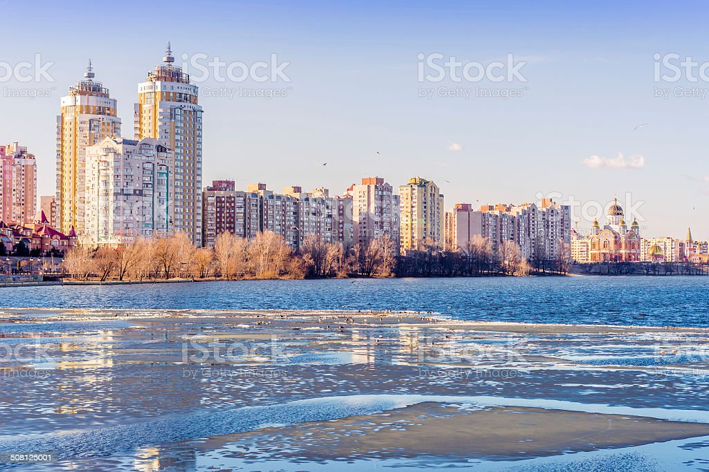 Buildings close to the Frozen River stock photo