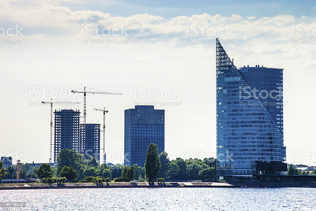 Buildings constructions in Riga royalty-free stock photo