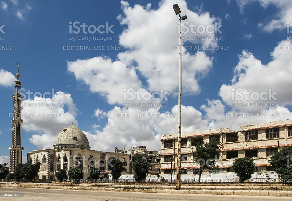 Buildings damaged during the fighting in Homs stock photo