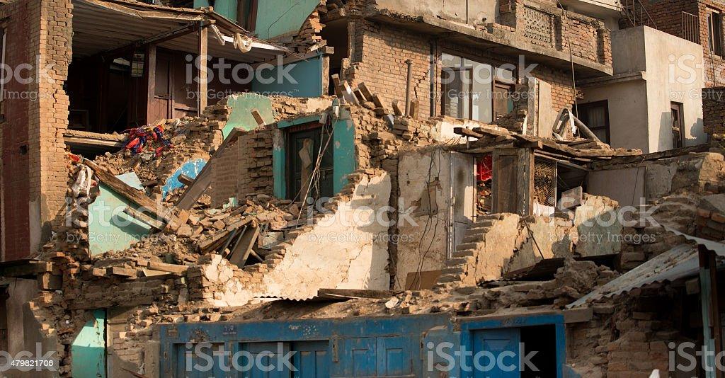 Buildings devastated by earthquake at Swayambhunath, Katmandu stock photo