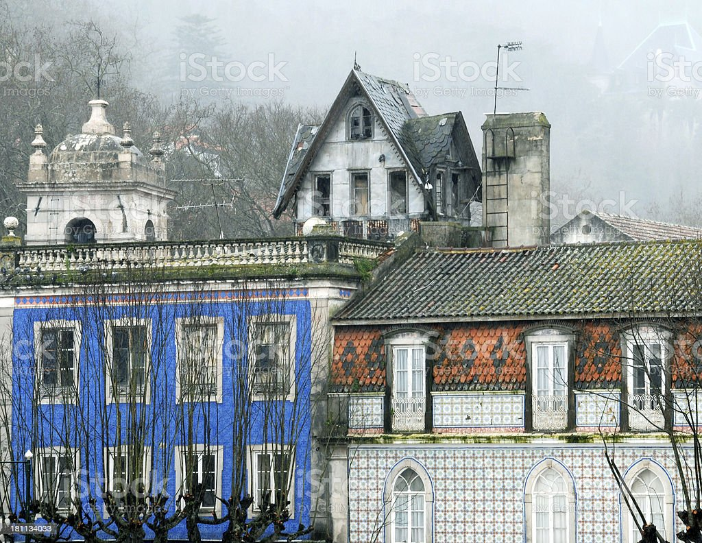 Buildings faced with azulejo tile in Portugal royalty-free stock photo