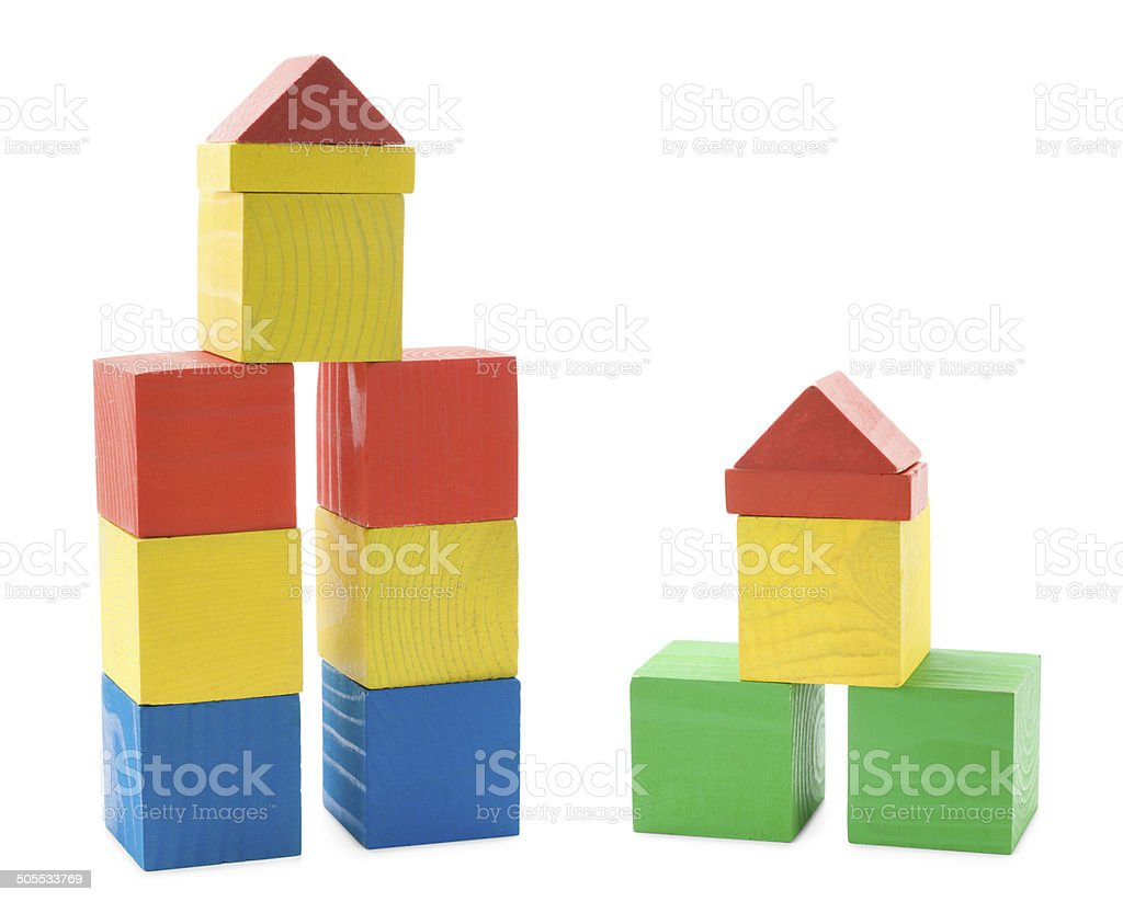 Buildings from wooden blocks stock photo